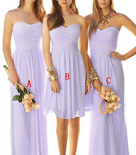 Drehouse 3 Styles D'une Ligne De Robes De Fête De Mariage Robes De Demoiselle D'honneur En Mousseline De Soie Lavande A Des Femmes