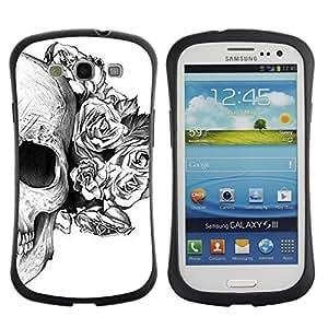 """Pulsar iFace Series Tpu silicona Carcasa Funda Case para SAMSUNG Galaxy S3 III / i9300 / i747 , Cráneo floral de las rosas de la Muerte Tattoo metal"""""""