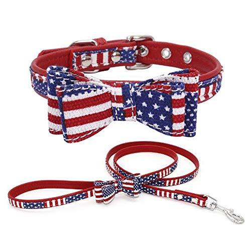 Dogs Kingdom American Flag Dog Collar Leather Padded Dog Collar Leash Set Adjustable,Blue,S