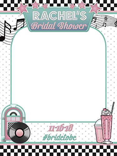 Disco Bridal Shower Selfie Frame Music Theme with Jukebox Record and Milk Shake Photo Prop musician Notes for Brides Party Concept Handmade Size 36x24, 48x36 ()