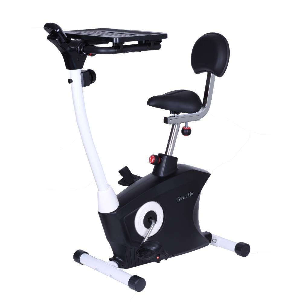 989775b7cf5 Amazon.com   SereneLife Exercise Bike - Upright Stationary Bicycle Pedal  Cycling Trainer Fitness Machine Equipment with Laptop Tray for Workout