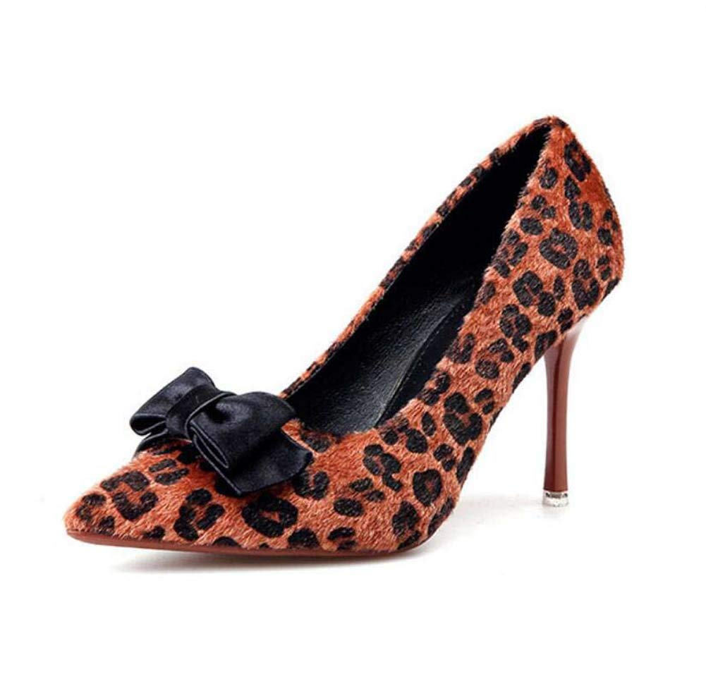 Mamrar Frauen Pump Leopard Print High Heels Sexy Pointed Toe Suede Bowkont Party Dress Schuhe OL Gericht Schuhe Eu Größe 35-39