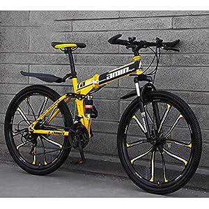 51f53E1u6XL. SS300 JXH Mountain Bike Bicicletta Pieghevole, Sospensione 26inch 24 velocità Doppio Freno a Disco Antiscivolo Totale, Leggero…