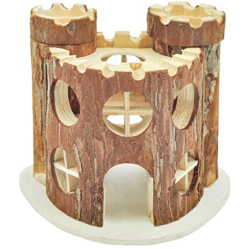Niteangel Natural Living Wooden Castle, Small Animal Playground, 2-Level House