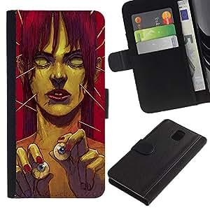"""Samsung Galaxy Note 3 III N9000 N9002 N9005 , la tarjeta de Crédito Slots PU Funda de cuero Monedero caso cubierta de piel ("""" Zombie Art Eye Balls Green Monster Redhead"""")"""