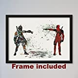 Star Wars Deadpool vs Boba Fett Bounty Hunter 9″ x 12 3/8″ FRAMED Poster
