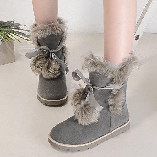 Charm Voet Dames Lage Hak Flat Lace Up Pompons Korte Snowboots Grijs