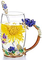 COAWG Flower Glass Tea Mug with Spoon, 12OZ Red Flower Lead-Free Hand Made Enamel Rose and Coloful Butterfly Clear Glass...