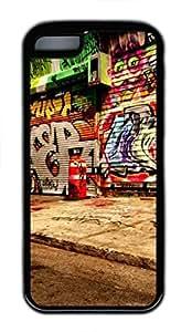 iCustomonline Graff Art On Walls Soft Back Case Cover Skin for iPhone 5C - Black