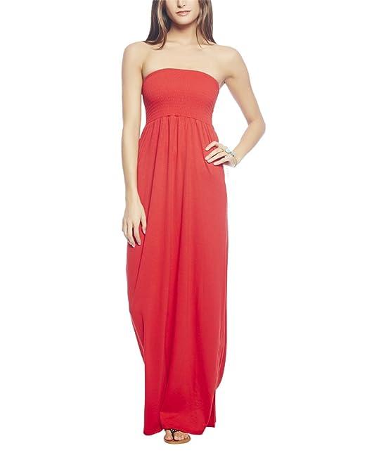 c1961c9d872 Wet Seal Women s Smocked Tube Maxi Dress S Red Hot  Amazon.ca ...