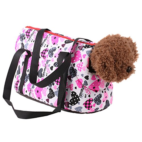Jocestyle Heart Printed Soft Sided Pet Carrier Travel Cat Dog Small Animals Tote Bag (17.32 x 9.05 x 11.02 inch, Pink)