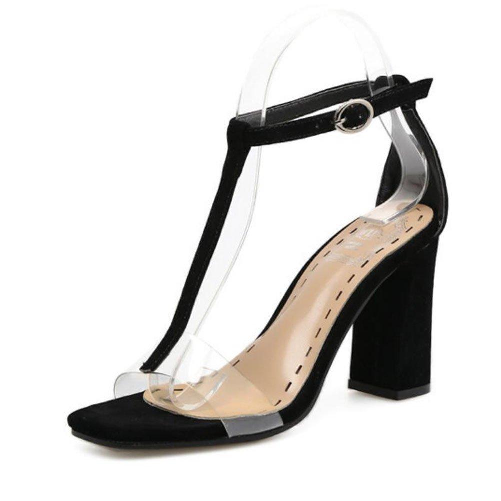 GAOLIXIA Damen Damen Pu Sommer Sandalen Chunky High Heel Offene T-Strap Spitze Transparent T-Strap Offene Pumps Pumps Aprikose Schwarz 6918eb