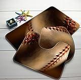 Homespun Set Of 3 Piece Bathroom Mat Set Baseball Sport Macro Ball Pattern Bath Mat Bathroom Anti Slip Bathroom Products