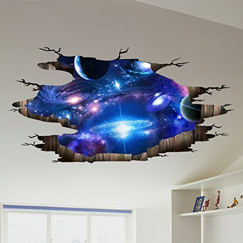 Amaonm Creative 3D Blue Cosmic Galaxy Wall Decals Removable PVC Magic 3D Milky Way Outer Space Planet Window Wall Stickers Murals Wallpaper Decor for Home Walls Floor Ceiling Boys Room Kids Bedroom by Amaonm (Image #3)