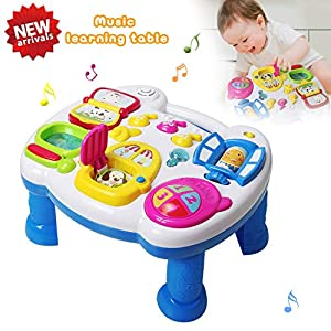 HOMOFY Musical Learning Table Baby Toys 6 to12 Months up-Early Education Music Activity Center Game Table Toddlers Toys for 1 2 3 Year Old -Different Lighting&Sound (New Gifts to Your Babies)