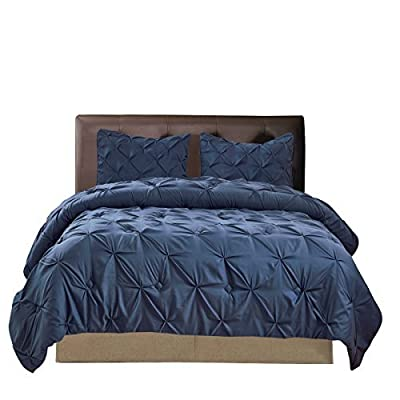 "Williom Town 3 PC Soft Fashion Original Pinch Pleat Puckering Comforter Set, Blue, Queen - Pinch Pleat Puckered Design - Elegant pinch pleat pattern with exquisite workmanship to add sophistication and nobleness to any bedroom. Pleates are very sturdy and won't come apart. Decorated with beautiful pin tucks. Will match with any room style. Very attractive and fashionable Material - Thick and soft brushed Microfiber Fabric with ployster fill. Lightweight, breathable and plush. This comforter could be used on cold nights or fairly warm nights, and won't make you sweat or feel hot. Stuffing inside won't bunch up or move around after being washed Queen Size 3pc Set - 1 comforter 90""x92"" with 2 standard pillow shams 20""x26"" - comforter-sets, bedroom-sheets-comforters, bedroom - 51f54qiDzoL. SS400  -"