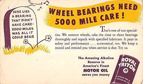 (Royal Triton Motor Oil Wheel Bearing Advertisement Antique Postcard K431305)