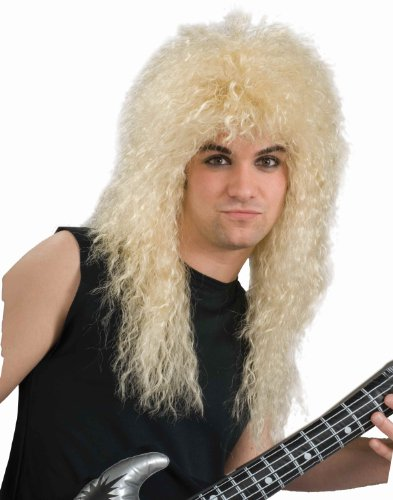 Halloween Rock Band Costumes (Forum Novelties Men's 80's Rock Star Long Curly Costume Wig, Blonde, One Size)