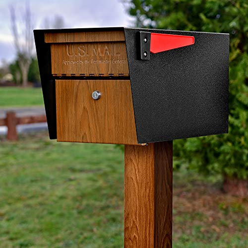 - Mail Boss Curbside 7510 Mail Manager Locking Security Mailbox, Wood Grain, Black Powder Coat