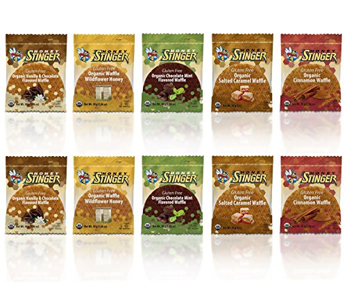Honey Stinger Gluten Free Waffle Variety Sampler Pack With NEW FLAVORS - 10 Pack - 2 of Each Flavor (Cinnamon Organic Honey)