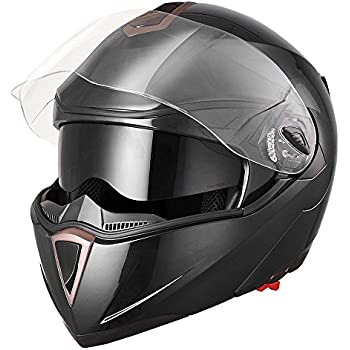 Yescom Full Face Flip up Modular Motorcycle Helmet DOT Approved Dual Visor Motocross Black L
