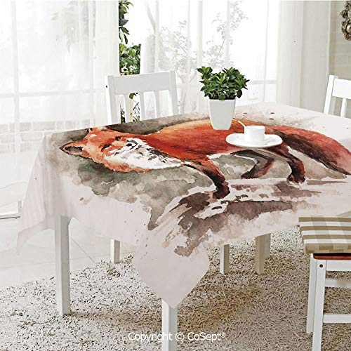 Spillproof Tablecloth,Watercolor Hand Drawn Red Fox with Bushy Tail Brushstrokes Tod Mammal Decorative,Table cloth for Kitchen Dinning Tabletop Decoration(60.23