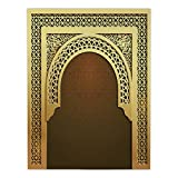 iPrint Satin Rectangular Tablecloth [ Moroccan,Middle Eastern Ramadan Greeting Scroll Arch Figure Celebration Holy Eid Theme,Golden Brown ] Dining Room Kitchen Table Cloth Cover