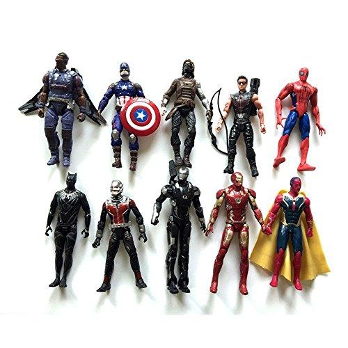 10pcs/set Captain America Civil War Iron Man Vision Spiderman War Machine Black Panther Winter Soldier PVC Action Figures Toys