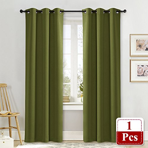 ing Window Curtain - NICETOWN Thermal Insulated Solid Grommet Blackout Curtain / Drape for Living Room (Single Panel, 42 by 84-Inch, Olive Green) (Single Living Room)