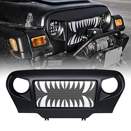 Overlay Grille Steel - Xprite Spartan Grille Grill Overlay Cover with Teeth Design on Steel Mesh for Jeep Wrangler TJ 1997-2006