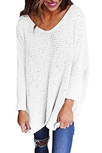 (Mafulus Womens Oversized Sweaters Casual V Neck Long Sleeve Loose Knit Pullover Tops White)
