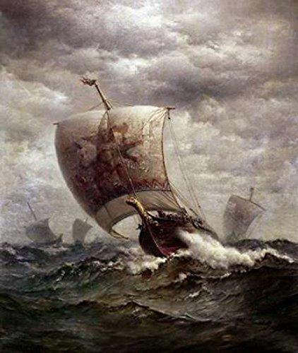 Viking Ships at Sea Poster Print by James Gale Tyler (24 x 24)