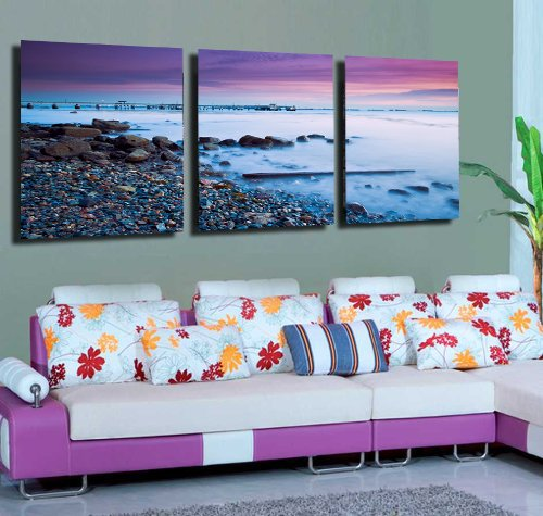 Mon Art 16x24 Inch x3 Pics Sand Beach Blue Purple Modern Canvas Abstract Paintings Wall Art Decor Stretched and Framed Ready to Hang
