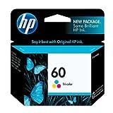 2pk HP 60 Ink Cartridge BLACK/COLO R CC640WN CC643WN Combo Pack for Photosmart C4640 C4650 C4680 C4740 C4750 C4780 C4795 C4799 D110a e-All-In-One Printer, Office Central
