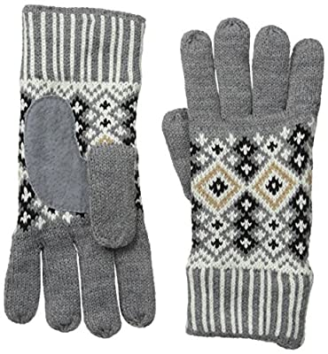 Isotoner Women's Nordic Birdseye Fair Isle Glove with Suede Palm Pad