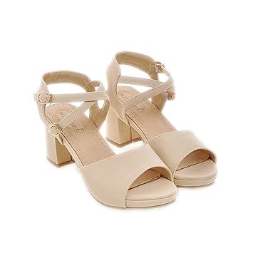 Damenschuhe Sandalen Plattform Ankle Strap Dicke Schuhe High Heels Sandalen Damen kausale Sandalen