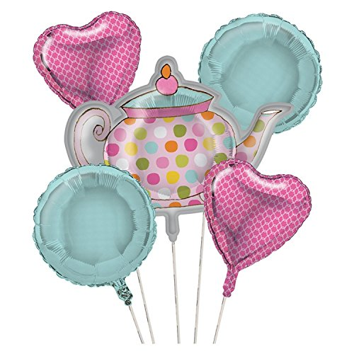 Club Pack of 12 Metallic Tea Time Foil Party Balloon Clusters by Party Central