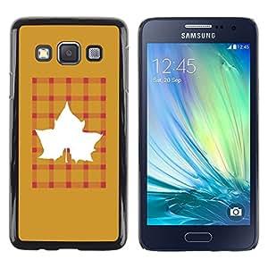 """Pulsar Snap-on Series Teléfono Carcasa Funda Case Caso para Samsung Galaxy A3 , Arce de oro de Brown Plaid"""""""