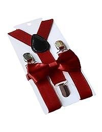 Unisex Kid Girl Boy Elastic Suspenders Bowtie Bow Tie Set Birthday Children's Day Gift for 1-10 Year Old Kids Daily Wear Attending Wedding Party Purplish Red