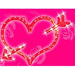 Northlight Seasonal Lighted Red Valentine's Day Heart Bow and Arrow Window Silhouette Decoration, 18""
