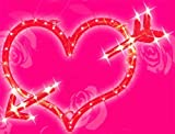 """Northlight  Lighted Red Valentines Day Heart Bow and Arrow Window Silhouette Decoration, 18"""""""