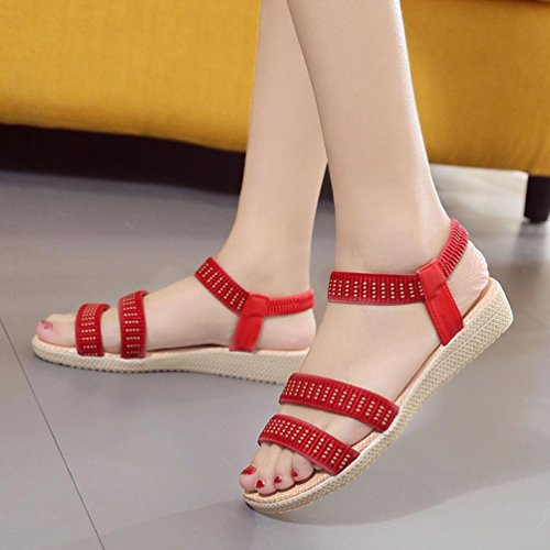 Sandalias de vestir, Ouneed ® Mujeres Bohemia Plano Ocio Sandalias Zapatos Peep-Toe Rojo