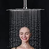 ESNBIA Shower Head 12 Inch Rectangular High Pressure Stainless Steel Fixed Rain Rainfall Showerhead Ultra Thin Water Saving Chrome Finish 2.5GPM Flow Rate