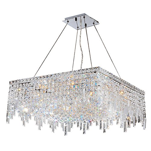 Worldwide Lighting W83613C24 Cascade 12 Light Chrome Finish with Clear Crystal Chandelier, 24″ x 24″ x 10.5″, Silver For Sale