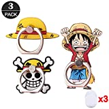 ZOEAST(TM) 3pcs Phone Ring Grip Luffy Straw Hat Pirates Flag Universal 360° Adjustable Holder Car Desk Hook Stand Stent Mount Kickstand Compatible with iPhone X Plus Samsung iPad Tablet (3 Pack Luffy)