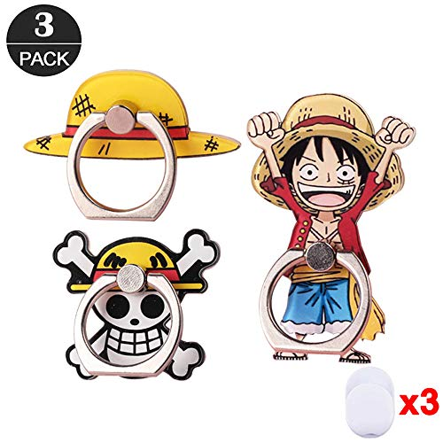 (ZOEAST(TM) 3pcs Phone Ring Grip Luffy Straw Hat Pirates Flag Universal 360° Adjustable Holder Car Desk Hook Stand Stent Mount Kickstand Compatible with iPhone X Plus Samsung iPad Tablet (3 Pack Luffy))