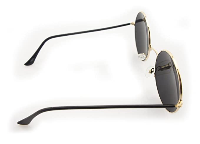 HAND 7001 Lunettes de Soleil Style John Lennon avec lentilles Miroir Violet - Largeur aux Temples 132 mm - 100% Protection UV400 - Cadre en Métal Argenté q46CIzg