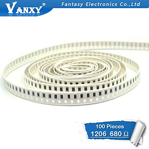HATOLY 100PCS 1206 SMD Resistor 1% 680 ohm chip Resistor 0.25W 1/4W 680R 681 Hot ()