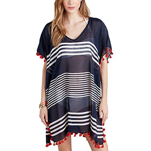 5dff8740c7428 Womens Beach Cover Ups Dress - Chiffon V Neck Sheer Bathing Suit Cover Up  Tassel Stripe Bikini Swimsuit Swimwear Coverups - Buy Online in Oman.