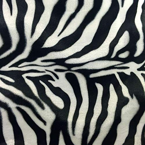- Black White Zebra Big Print Velboa Faux Fur Fabric - BTY - 58